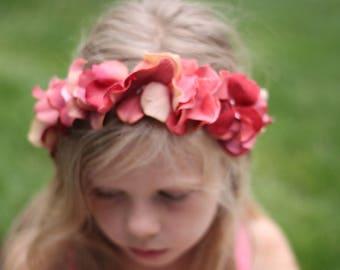 silk Hydrangea Headband, Rhinestone, Tie back