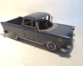 1950's Chevy Pickup Truck - Tin Metal Car Collectible Utilitarian Vehicle Toy Miniature Home Decoration in Blue