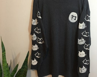 Neko Screenprinted Long Sleeved Shirt large