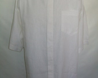 CAMP Clerical tab White Linen Cotton blend shirt. Select size for made to order. Cotton/linen body + linen tab. Untucked style Cool comfort
