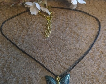 "Black Butterfly Pendant Necklace on 16"" cord with 2"" extender"