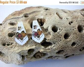 ON SALE Vintage 1970s Cloisonne Shield Butterfly Earrings 10416