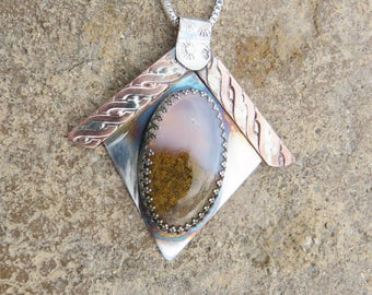 S-130 Plume Agate Sterling Silver Copper Pendant Necklace, Agate Jewelry, Silversmith Jewelry, Coppersmith, Mixed Metal Necklace