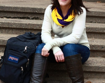 """Infinity Scarf - 2-Scarf Combo - 1 Purple Color AND 1 Gold Color - Approx. 28"""" - 14 strands each, Back To School"""
