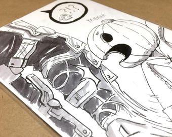Pumpkin: Original Ink Drawing   original art, ink drawing, anime drawing, manga art, original anime art, inktober, final fantasy xii, ff12