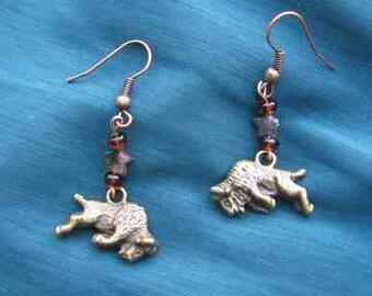 Markdown Sale...BUFFALO Plated Metal Charm Beaded Dangle Earrings....choose gold or silver plate