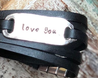 Mother's Day Gift Customizable Sterling Silver Leather Bracelet Personalize up to 8 letters in Variety of Leathers