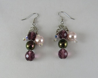Earrings, Beaded Dangle Earrings, Purple and Pink Earrings, Glass Pearl Dangle Earrings, Multi Dangle Earrings, Woman'd Earrings