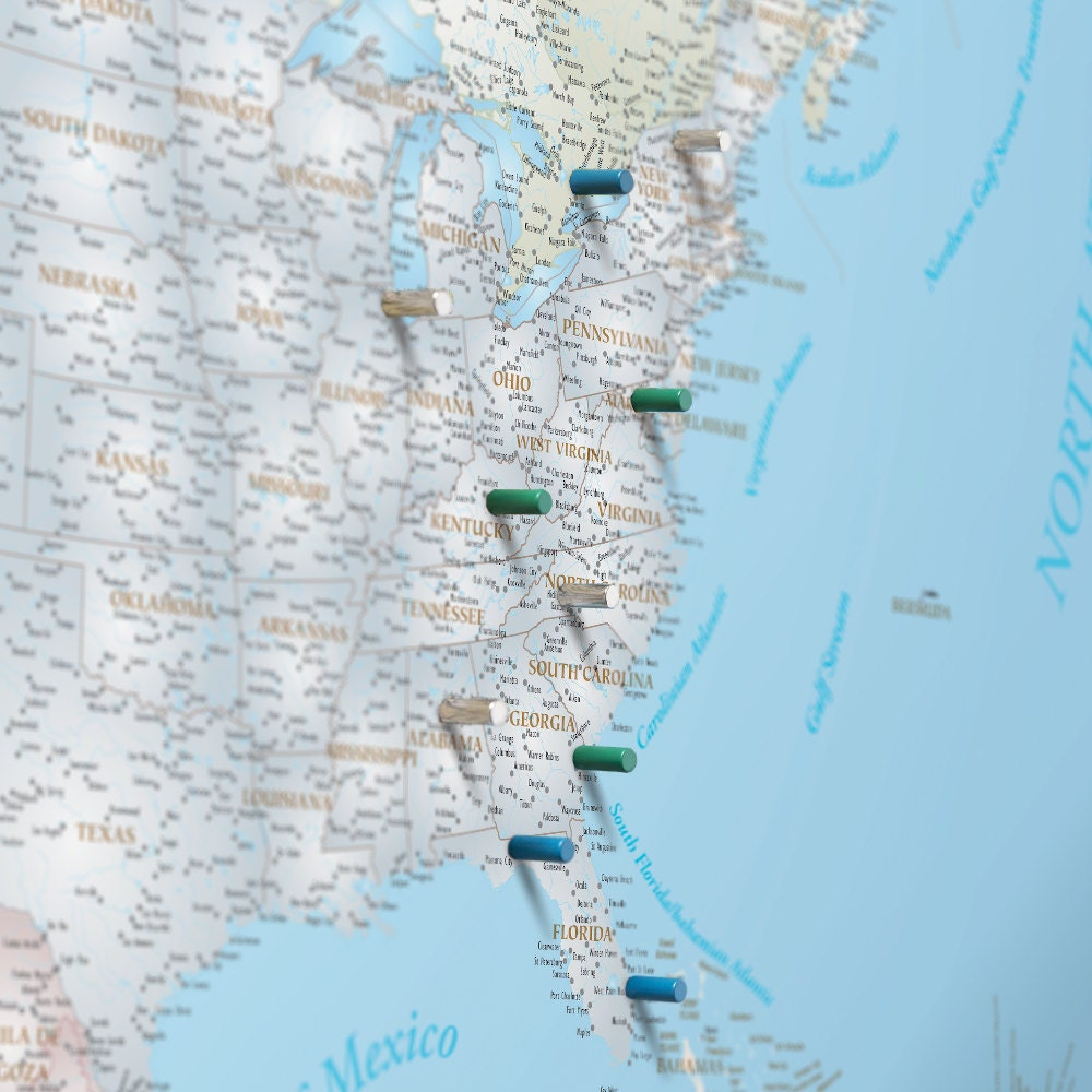 North America Magnetic Push Pin Travel Map Pushpin Map US