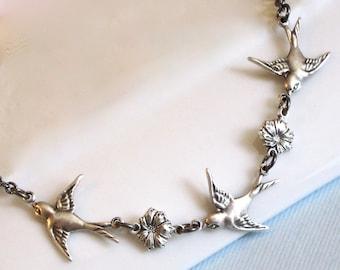 Silver Bird Necklace -  Small Bird Necklace, Bird Jewelry, Bridesmaid Necklace, Bridesmaid Jewelry, Nature Jewelry
