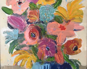 Colorful Flower Painting Mixed Media 12 x 16 inches