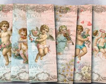 75% OFF SALE Angels - Digital bookmark B014 collage sheet printable download image size digital image valentine's day collage hang tags