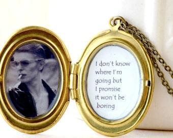 DAVID BOWIE jewelry, ziggy stardust, aladdin sane, rock and roll, rock jewelry, personalized locket, photo locket, best friend gift, quote
