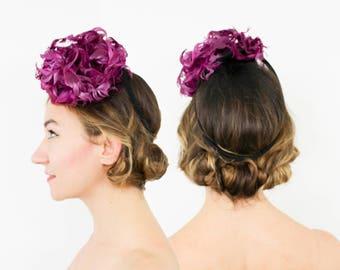 40s Tilt Hat | Purple Feather Fascinator