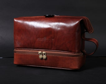 Hand-Crafted Leather Toiletry Bag