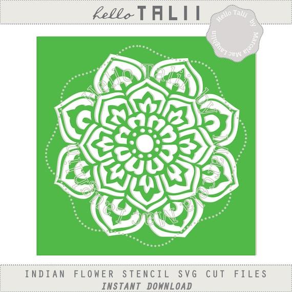 Instant Stencils Product : Flower stencil mandala svg cut file clipart digital indian