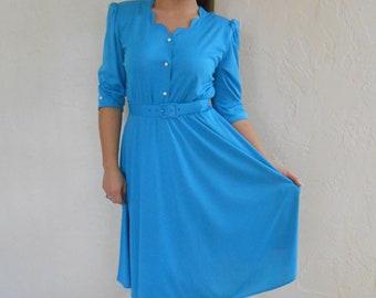 Vintage 1990s ANTHONY RICHARDS blue belted secretary dress, size 6 / 8