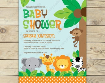 Jungle safari baby shower invitation printable safari baby jungle safari baby shower invitation printable safari baby shower invites jungle baby shower invitation boy baby shower invite filmwisefo