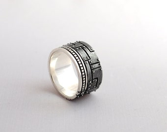 """Sterling Silver Industrial Ring """"Olivierus"""" 