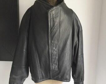 Men's Black Leather Bomber Jacket Marc Buchanan Pelle Pelle