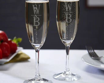 Emile Personalized Champagne Flutes, Set of 2 - Unique Anniversary Gifts, Gifts for Couples, Personalized Champagne Glass, His and Her Gifts