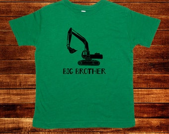 Digger Big Brother Shirt - Multiple Colors Available - Digger Excavator Kids Big Brother T shirt - Gift Friendly - PolyCotton Blended Tee