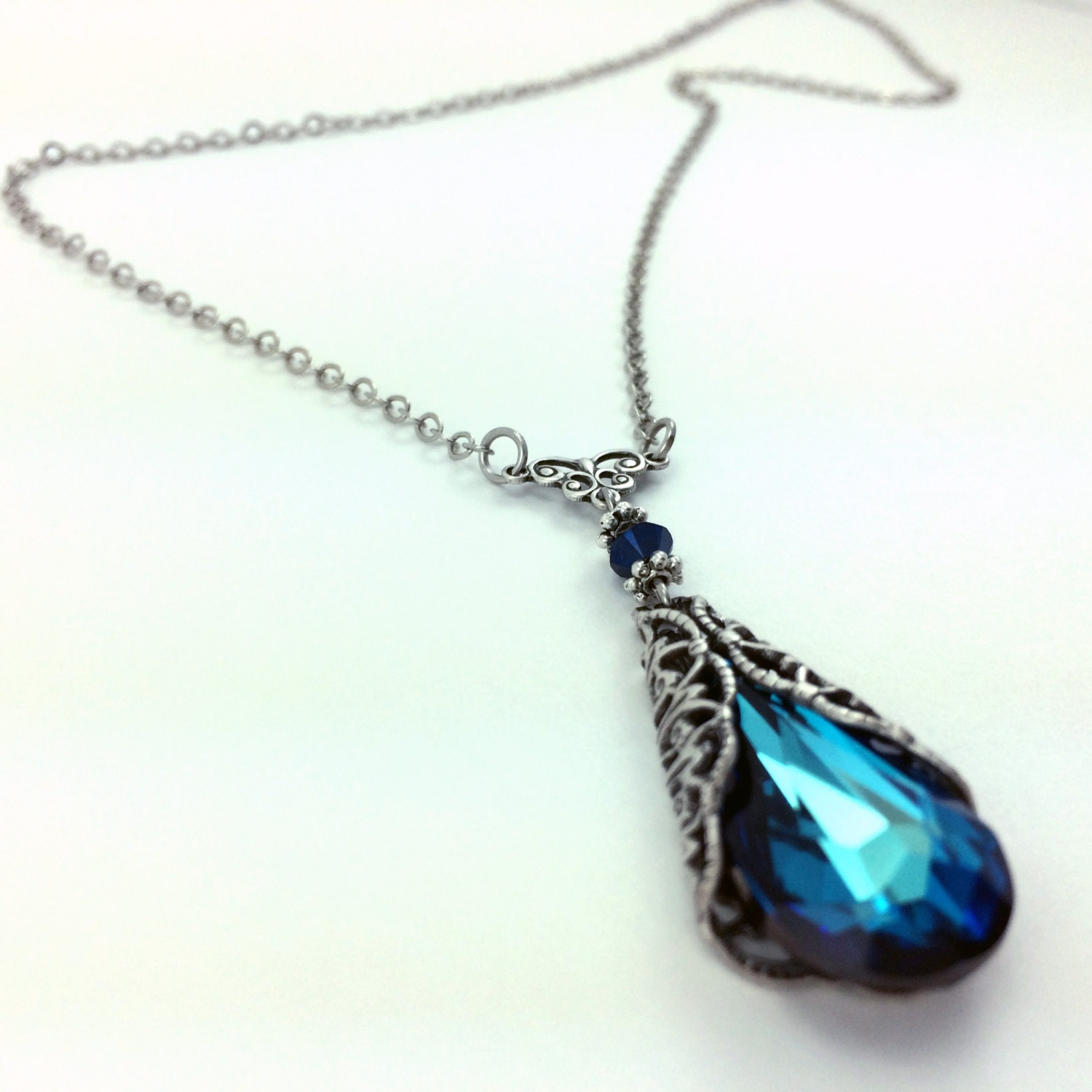 necklace pendants shop design sterling crystal real luxury water blue new for beautiful drop silver pendant fit