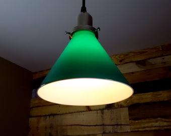 Vintage Green Glass Shade Pendant Light