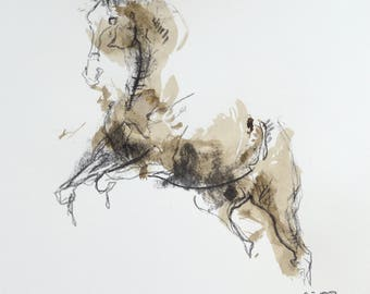 Charcoal & Ink Drawing of Horse on Paper, Equine Art, Animal, Modern Original Fine Art, Expressive Art