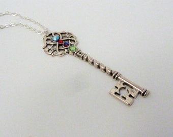 Steampunk Swarovski Crystal Key Necklace - Key Pendant - Crystal Key Necklace - Steampunk Jewellery - Steampunk Gift - Silver Key Necklace