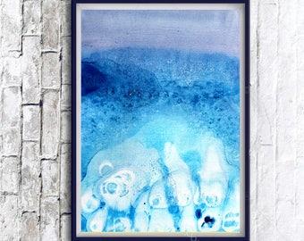 Abstract Blue Art Poster, Watercolor Print, Modern Abstract Art, Modern home decor, Abstract Wall Art, Blue Print, Printable Watercolor