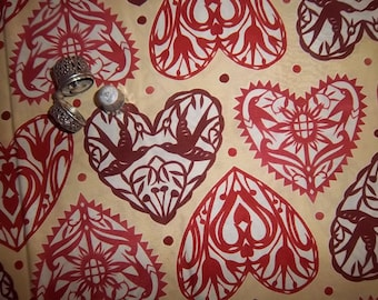 By the Half Yard Marzipan Valentine Papercut Hearts In the Beginning by Julie Paschkis