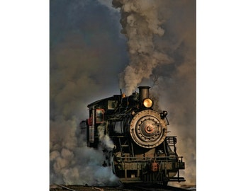 Vintage Steam Engine Photograph, Monochrome Photography, Gray, Train Art, Home Decor, Home Decor, New Hope Ivyland Rail Road, 6X9