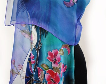 Blue roses with bird/Painted silk scarf/Hand Painted Silk scarf/Woman silk chiffon scarf/Blue flowers/Painted flowers/luxury gift/S0052