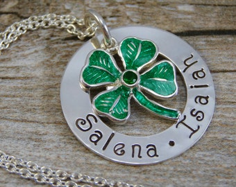 Hand Stamped Jewelry - Personalized Jewelry - Sterling Silver Mother Necklace - Two or three Names - Washer Pendant - 4 Leaf Clover Charm