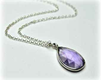 Amethyst necklace silver, amethyst drop necklace, purple necklace, February birthstone, amethyst pendant, Bridesmaid jewelry, gift for women