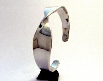 Sterling Silver Cuff Bracelet, Wide Twist