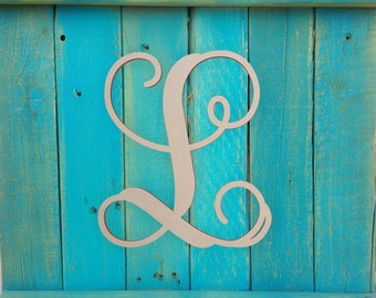 "Wooden Monogram Letter - Large or Small, Unfinished, Cursive Wooden Letter - Perfect for Crafts, DIY, Weddings - Sizes 1"" to 42"""