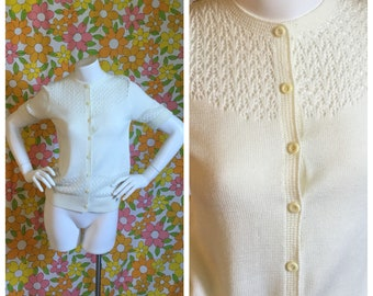 SALE! 60s 70s Vintage Knit Cardigan Sweater Small Medium