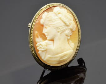 GORGEOUS* Amazing Victorian Shell Cameo Maiden Profile  **FREE SHIPPING**