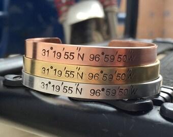 Coordinates bracelet, personalized coordinates bracelet, Coordinate bracelet, coordinate gift for women, coordinate bangle, Coordinates