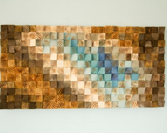 Modern Wood wall Art, Ready to Ship wood mosaic, geometric art