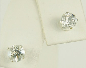 White Topaz Stud Earrings Sterling Silver 5mm Round 1.25ctw Natural Untreated