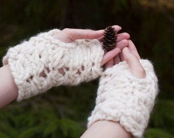 HandKnit Chunky Lace Fingerless Gloves Knitted Textured Wrist Warmers Winter Spring Fashion natural cream white or CHOOSE YOUR COLOR