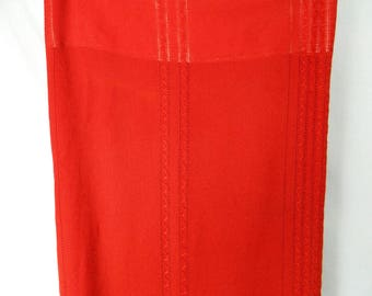 Very long bright red curtains - vintage.