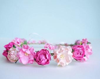 Paper Flower, Bridal flower crown, tiaras pink peony, soft pink twist flowers color.