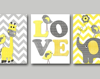 Giraffe Elephant Nursery Canvas Baby Girl Nursery Art Print Children Wall Art Baby Room Decor set of 3 Yellow Gray Baby Shower Gift //