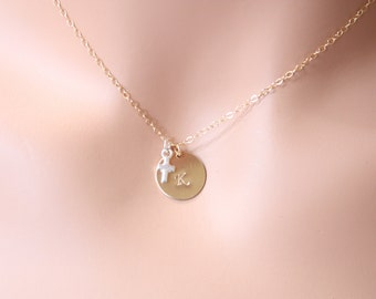 Cute small Cross  Sterling silver with Initial disc GOLD FILLED necklace - simple everyday wear, Mom's necklace, Birthday, Mother's Day gift