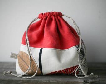 Project bag, knitting bag, sock knitting bag, knitting project bag, drawstring bag