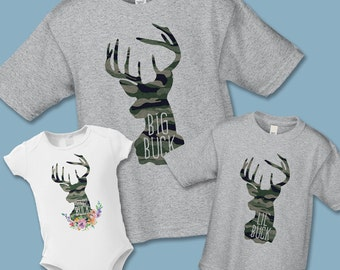 Create a Custom Matching Father Son or Daughter Matching Shirts - Camouflage Buck Deer Hunting T-Shirt - Gift for New Father or Grandfather